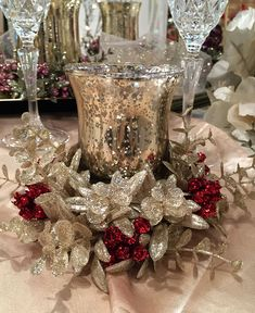 Check out the deal on Silver Mercury Glass Tealight Holder Kissing Krystal Gold and Red Garland at Battery Operated Candles Silver Christmas Decorations, Christmas Table Centerpieces, Christmas Swags, Christmas Tablescapes, Christmas Candles, Christmas Crafts, Christmas Wishes, Christmas Holiday, 1 Advent