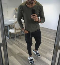 Green long sleeve, distressed jeans and sneakers by @vincenzoragnacci ✨ [ www.RoyalFashionist.com ]