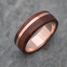 ROSE GOLD Wood Ring Solsticio Oro Nacascolo - 14k rose gold, pink gold wood wedding band, wood wedding ring, wood ring with rose gold
