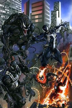 Marvel Comic Book Artwork • VENOMVERSE #1-5 By Clayton Crain Connecting Virgin Variant Set Limited To ONLY 600 World Wide. Available to buy at our online store www.7ate9comics.com Venom Comics, Marvel Venom, Marvel Comics Art, Marvel Comic Books, Comic Book Characters, Marvel Heroes, Spiderman Art, Amazing Spiderman, Marvel Universe