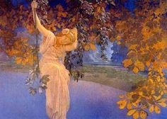 Maxfield Parrish- Reverie.  I love his use of golden light and deep blues, and of course, his trees.