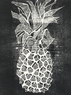 pineapple wood cut, relief printing Aloha!