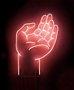 Neon hand by Ruiz Stephinson Neon Rosa, Neon Words, All Of The Lights, Neon Aesthetic, Orange Aesthetic, Neon Glow, Neon Lighting, Lighting Design, Light Art