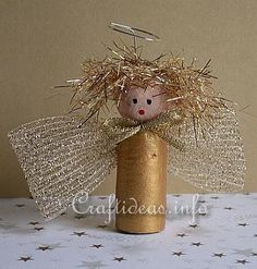 Wine Cork Christmas Ornaments Homemade | Christmas Crafts for Kids - Recycling Crafts - Wine Cork Gold Angel