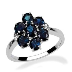 Blue Indicolite Tourmaline Sterling Silver Ring Size 7 2.25 cts #Unbranded #Cluster http://stores.ebay.com/JEWELRY-AND-GIFTS-BY-ALICE-AND-ANN
