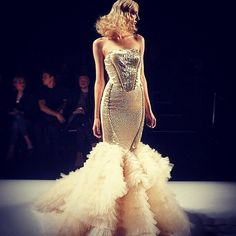 #MIKAELD gold beaded gown with ruffled tulle as shown on the runway for the #SS15 presentations during #WMCFW in Toronto