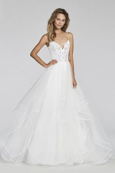 Ivory Marrakesh beaded bridal ball gown, scalloped sweetheart neckline and spaghetti strap detail, cascading tulle skirt with thin horsehair trim. Arriving Spri