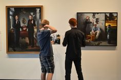 SPC students contemplate the work of Kevin Grass in the SPC Visual Faculty Exhibition at Art Break at LRMA