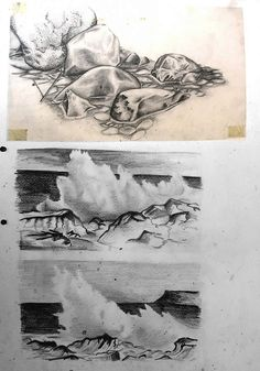 This International GCSE sketchbook page example includes graphite pencil drawings of water – the top one completed on thick, high quality tracing paper, which provides a beautiful silky surface for students to draw on.
