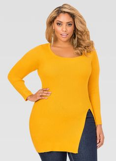 Slit Front Fitted Ribbed Sweater Slit Front Fitted Ribbed Sweater
