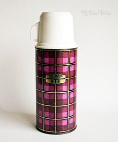Vintage Retro 1970s Purple Pink Striped Picnic 1Ltr Thermos Flask by UpStagedVintage on Etsy