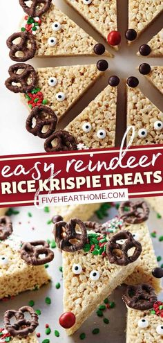 Check out this fun holiday project for the kids! You won't believe how easy it is to make these Reindeer Rice Krispie Treats. Not only are they a festive addition to a Christmas cookie platter or dessert table, but they are also a yummy treat to share with friends! Cute Christmas Desserts, Christmas Treats To Make, Thanksgiving Desserts Easy, Thanksgiving Cookies, Christmas Breakfast, Christmas Parties, Christmas Baking, Holiday Treats, Christmas Recipes