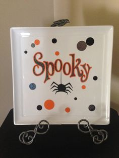 Such a cute Halloween plate! Done by Bonnie Hunt! & Hand Painted Halloween Ceramic Spider Web Plate on Etsy $22.00 ...