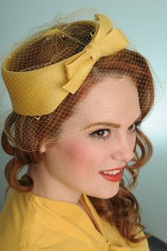 Yellow vintage hat with netting. AdorableI  I remember wearing a hat like this, In fact, I still have one