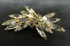 Vintage Rhinestone Pin Brooch Gold Crystal Leaf Clear Bouquet Bride Wedding