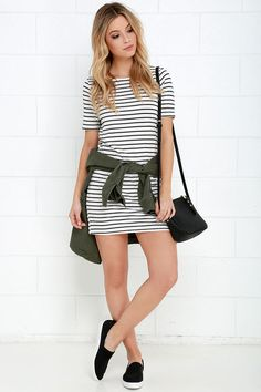 A little trouble can be a lot of fun with the Law Bender Black and Ivory Striped Dress by your side! A casual t-shirt style shift dress with a rounded neckline and modest half sleeves takes shape in a soft knit, boasting black stripes over a chic ivory backdrop.