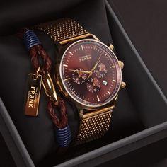 The Kinsale gold chronograph & Brown leather wrap bracelet. www.Grandfrank.com