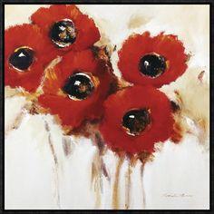 Global Gallery Crimson Poppies II by Natasha Barnes Framed Drawing Print Size: Large