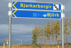 Bjork street sign in Iceland