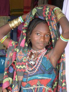 Girl from a Umm Bororo tribe . Sudan