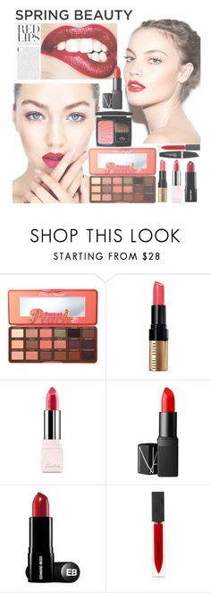"""Red Kisses"" by rosiecheeksandfreckles ❤ liked on Polyvore featuring beauty, Too Faced Cosmetics, Bobbi Brown Cosmetics, Guerlain, NARS Cosmetics, Burberry and Max Factor"