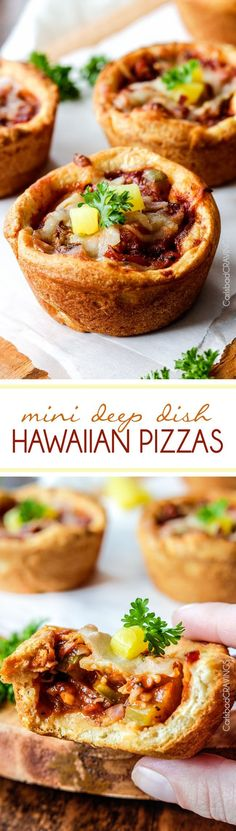 EASY Mini Deep Dish Hawaiian Pizzas baked in premade crescent dinner rolls for an easy buttery, fluffy crust and stuffed with your favorite Hawaiian pizza toppings smothered in a barbecue marinara.