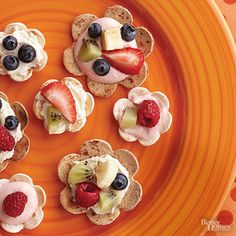Fruit Tostadas Cut shapes into tortillas then pile them high with fruit and cream cheese for a fun and nutritious snack option.