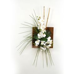 Distinctive Designs Orchids Bamboo Wall Hanging Silk Plants in Sushi Tray - 7571RB