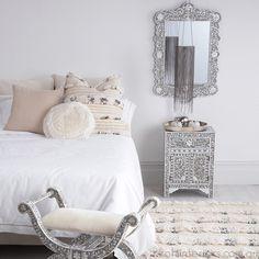 Bone Inlay Furniture - Grey & Mother of Pearl Inlay Bedside Table Moroccan Bedroom, Moroccan Interiors, Moroccan Decor, Modern Moroccan, Moroccan Lanterns, Moroccan Tiles, Home Bedroom, Bedroom Decor, Bedrooms