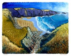 Caerfai by Chris Neale Exhibition of new work at Oriel Ffin y Parc, Llanrwst in February Landscape Art, Landscape Paintings, Landscapes, Graphic Eyes, Naive Art, Print Artist, Great Pictures, Picture Photo, Painting & Drawing