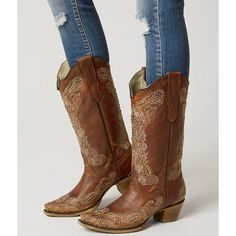 Corral Embroidered Cowboy Boot - Brown US 10 ($213) ❤ liked on Polyvore featuring shoes, boots, brown, corral boots, studded cowboy boots, embroidered western boots, brown cowboy boots and western boots