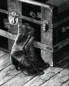 Grandma's Boots Charles Mingus, Scratchboard Art, Scratch Art, Still Life, Boots, Crotch Boots, Shoe Boot