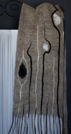 hand felted Man's gray Scarf