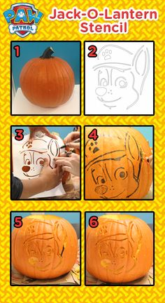 Create a PAW Patrol Halloween Jack-O-Lantern with this easy Nick Jr. stencil!
