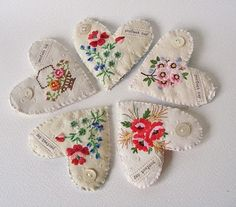 hearts made with vintage embroideries; could be sewn from vintage handkerchiefs