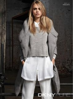 Cara Delevingne layers a knit over a button-down for DKNY Resort 2015 Campaign #style #fashion