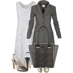 Office outfit: White - Gray - Snakeskin by downtownblues on Polyvore featuring Ana Alcazar