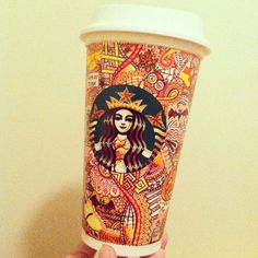 Artist Repurposes Starbucks Cups as Canvases for Colorful Creations - My Modern Met Starbucks Coffee Cups, Starbucks Cup Design, Starbucks Cup Art, Coffee Cup Art, Starbucks Logo, Starbucks Drinks, Hot Coffee, Starbucks Bottles, Starbucks Merchandise