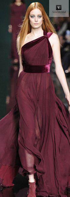 In stock elegant chiffon & velvet one-shoulder neckline A-line evening dress(SOD68472)