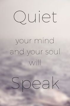 Quiet your mind and your soul will speak.