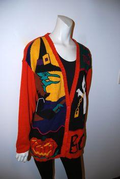Vintage Early 90's Tacky Halloween Cardigan Sweater. $17.00, via Etsy.