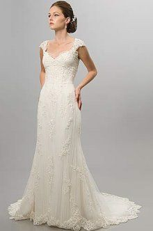Love this Alfred Sung #6811 wedding dress with cap sleeves.