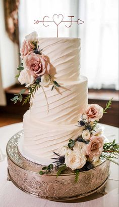 Summer garden wedding in gray, dusty blue and blush - Wedding Cake Inspirati . - Summer garden wedding in gray, dusty blue and blush – Wedding Cake Inspiration for Your Garden We - Blush Wedding Cakes, Floral Wedding Cakes, Wedding Cake Rustic, Beautiful Wedding Cakes, Wedding Cake Designs, Dream Wedding, Elegant Wedding Cakes, Wedding Cake Simple, Wedding Cake Flowers