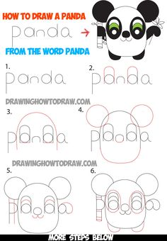 How to Draw Cartoon Pandas from the Word Panda Easy Step by Step Tutorial for Kids cartoon panda How to Draw Cartoon Pandas from the Word Panda Step by Step Tutorial for Kids - How to Draw Step by Step Drawing Tutorials Word Drawings, Cartoon Drawings, Animal Drawings, Easy Drawings, How To Draw Steps, Learn To Draw, Drawing Lessons, Art Lessons, Drawing Tips