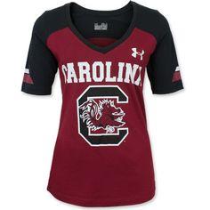 South Carolina Gamecocks Under Armour Ladies' V-Neck Shirt - Garnet  Black #gamecocks
