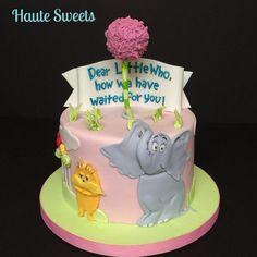 Horton & Lorax baby shower cake - cake by Hiromi Greer Baby Shower Cakes, Baby Shower Themes, Baby Boy Shower, Baby Showers, Dr Seuss Baby Shower Ideas, Baby Cakes, Lorax, Dr Suess Cakes, Dr Suess Baby
