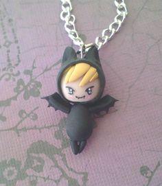 Flying Bat Chibi Necklace - halloween, costume, charm