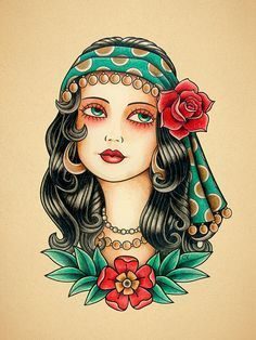 Gypsy Woman. Old School Tattoo print.