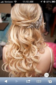 wedding hair half up with comb - Google Search