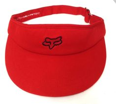 0a3a63a7604 vtg-style FOX RACING SUN VISOR Red Black Wide Brim Men Women Adjustable  Golf Hat  FoxRacing  Visor